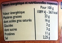Crème de fromage au Camembert - Valori nutrizionali - fr