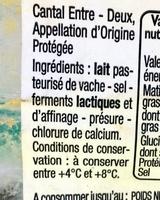 Cantal Entre-deux AOP - Ingredients - fr