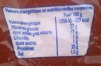 Fromage pour Tartiflette - Valori nutrizionali - fr