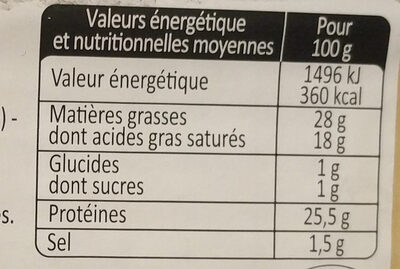Fromage à raclette (26% MG) - Informations nutritionnelles - fr