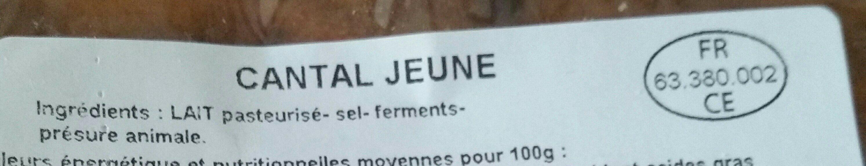 Cantal jeune - Ingredients - fr