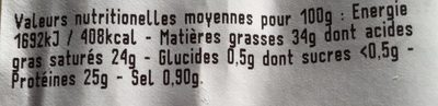 Cantal jeune - Nutrition facts - fr