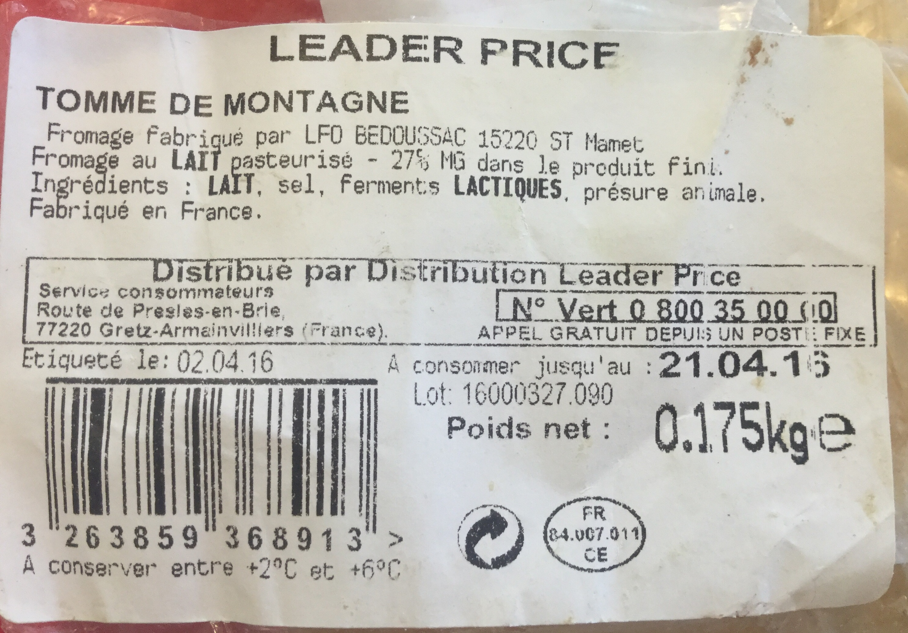 Tomme de Montagne - Produit - fr