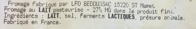 Tomme de Montagne - Ingrédients - fr