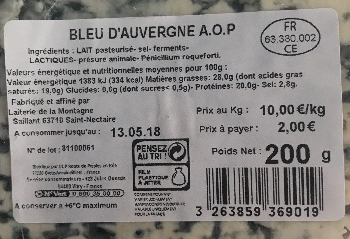 BLEU D'AUVERGNE A.O.P - Ingrédients - fr
