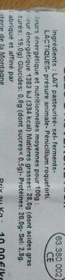 BLEU D'AUVERGNE A.O.P - Informations nutritionnelles - fr