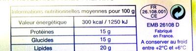 6 Fromages de Chèvre à Dorer - Informations nutritionnelles - fr