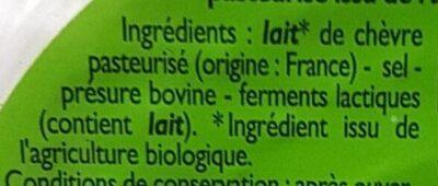 Fromage frais au lait de chèvre - Ingrediënten