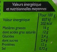 Fromage frais au lait de chèvre - Voedingswaarden