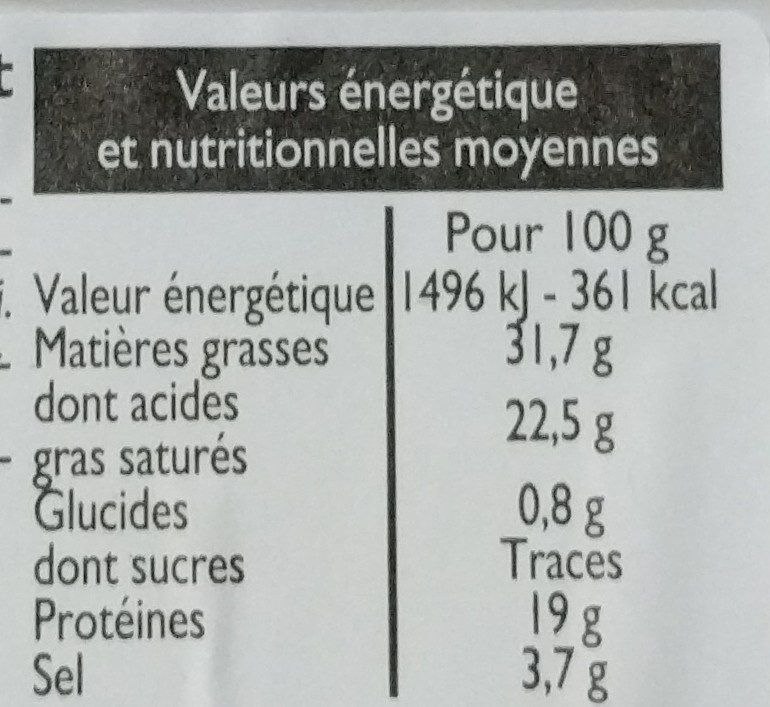 Roquefort - Nutrition facts - fr