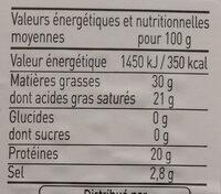 Bleu d'Auvergne AOP (30 % MG) - Nutrition facts - fr