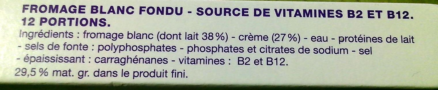Carré à la crème (29,5 % MG) 12 Portions - Ingredients - fr