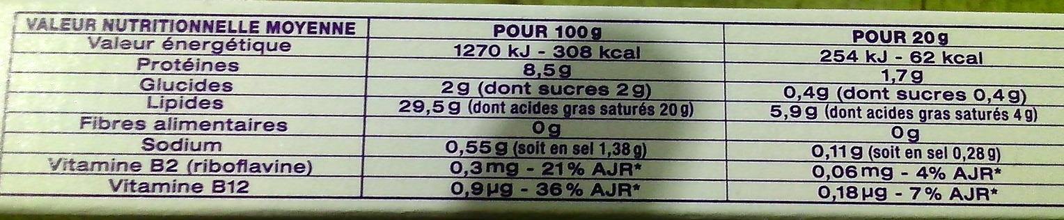Carré à la crème (29,5 % MG) 12 Portions - Nutrition facts - fr