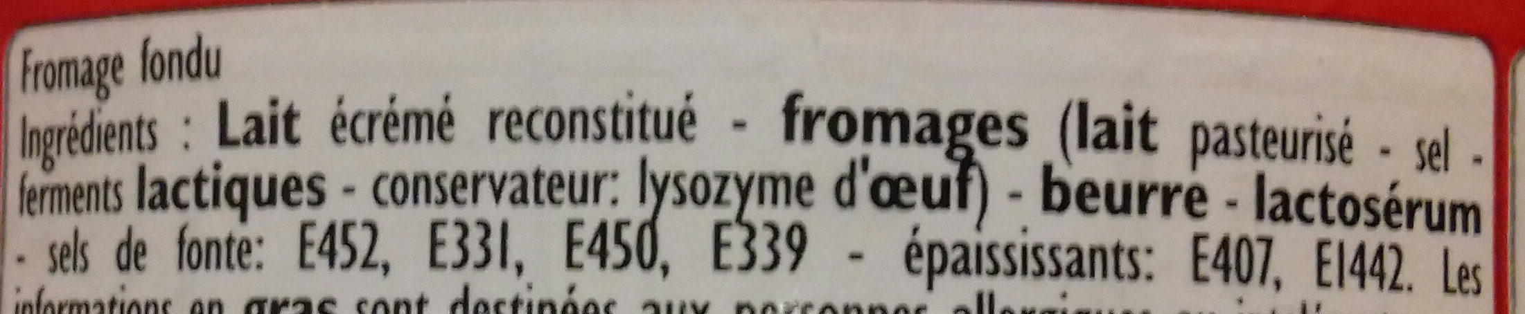 P'tits fondus - Ingrediënten - fr