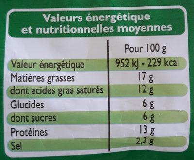Fromage Fondu Spécial Croque Monsieur - Informations nutritionnelles - fr