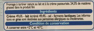 Formage  à Tartiner Nature - Ingrediënten