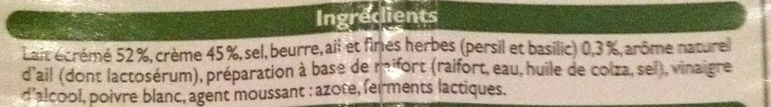 Ail et fines herbes fromage à tartiner (27% MG) - Ingredients