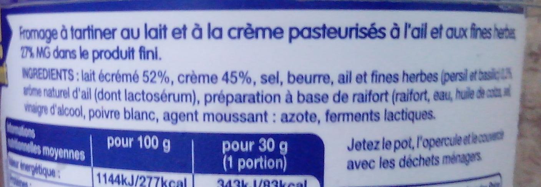 Fromage à tartiner Ail et fines herbes - Ingrediënten