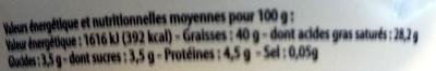 Mascarpone (40% MG) - 250 g - Leader Price - Voedingswaarden - fr