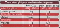 Fromage Crémeux (38% MG) - Informations nutritionnelles