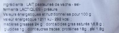 Chaource au lait pasteurisé (24% MG) - Ingredientes