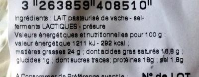 Chaource au lait pasteurisé (24% MG) - Información nutricional