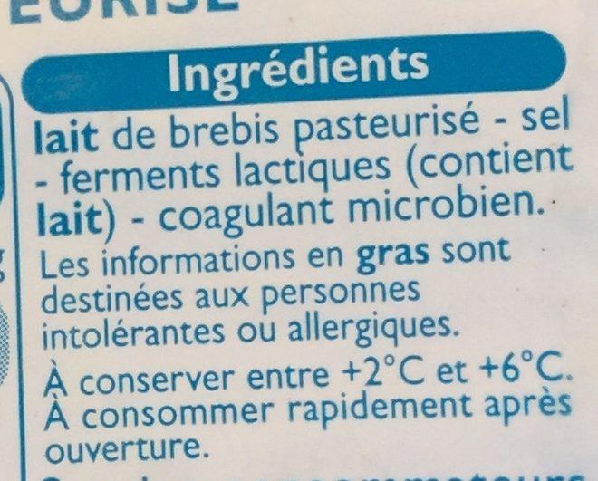 Fromages de brebis - Ingredients - fr