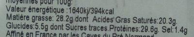 Tomme du Mont Pilat - Informations nutritionnelles - fr