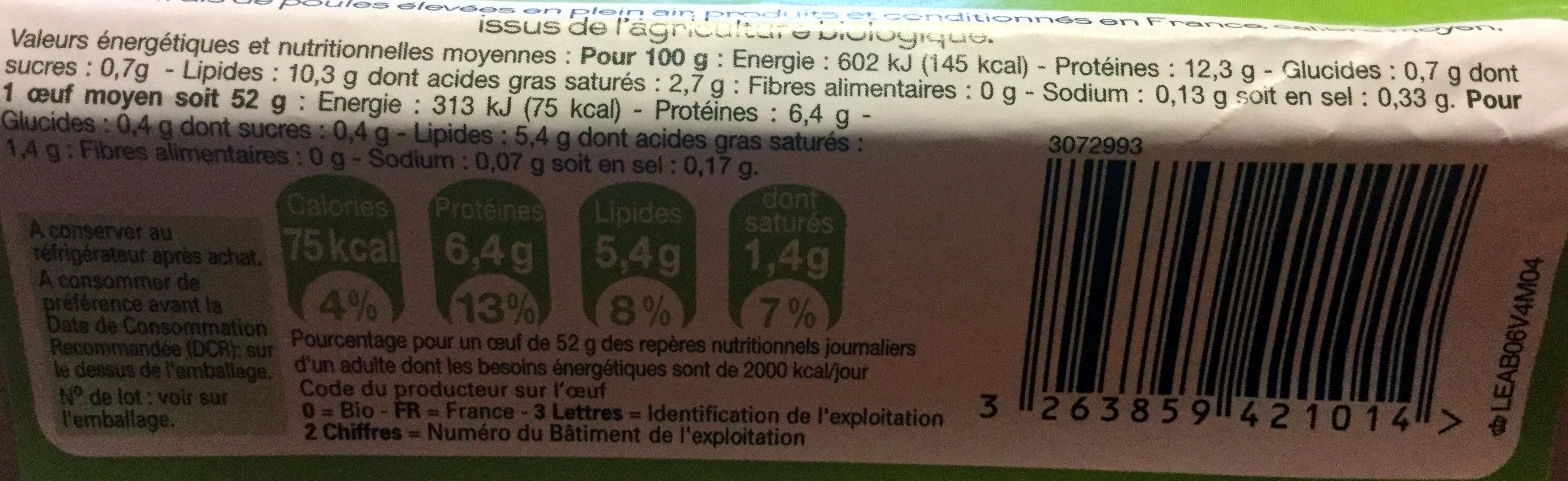 Oeufs de poules élevées en plein air Bio - Nutrition facts - fr