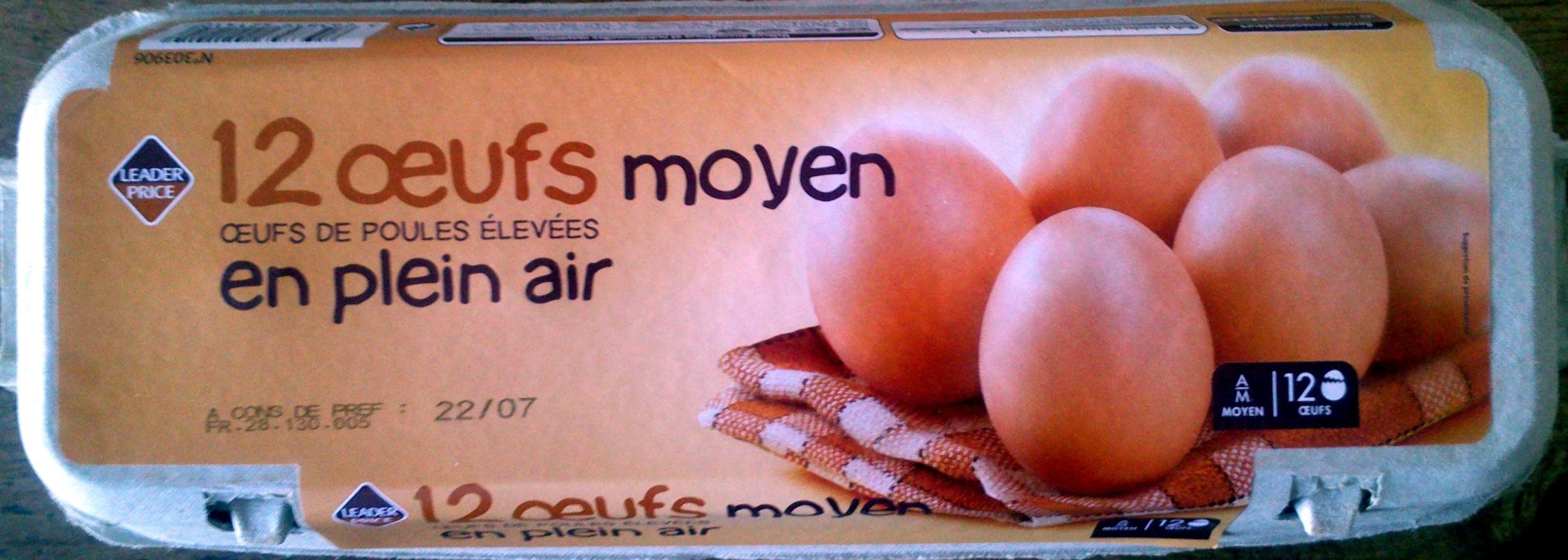 Œufs de poules élevées en plein air (x 12)Moyen Leader Price - Produit