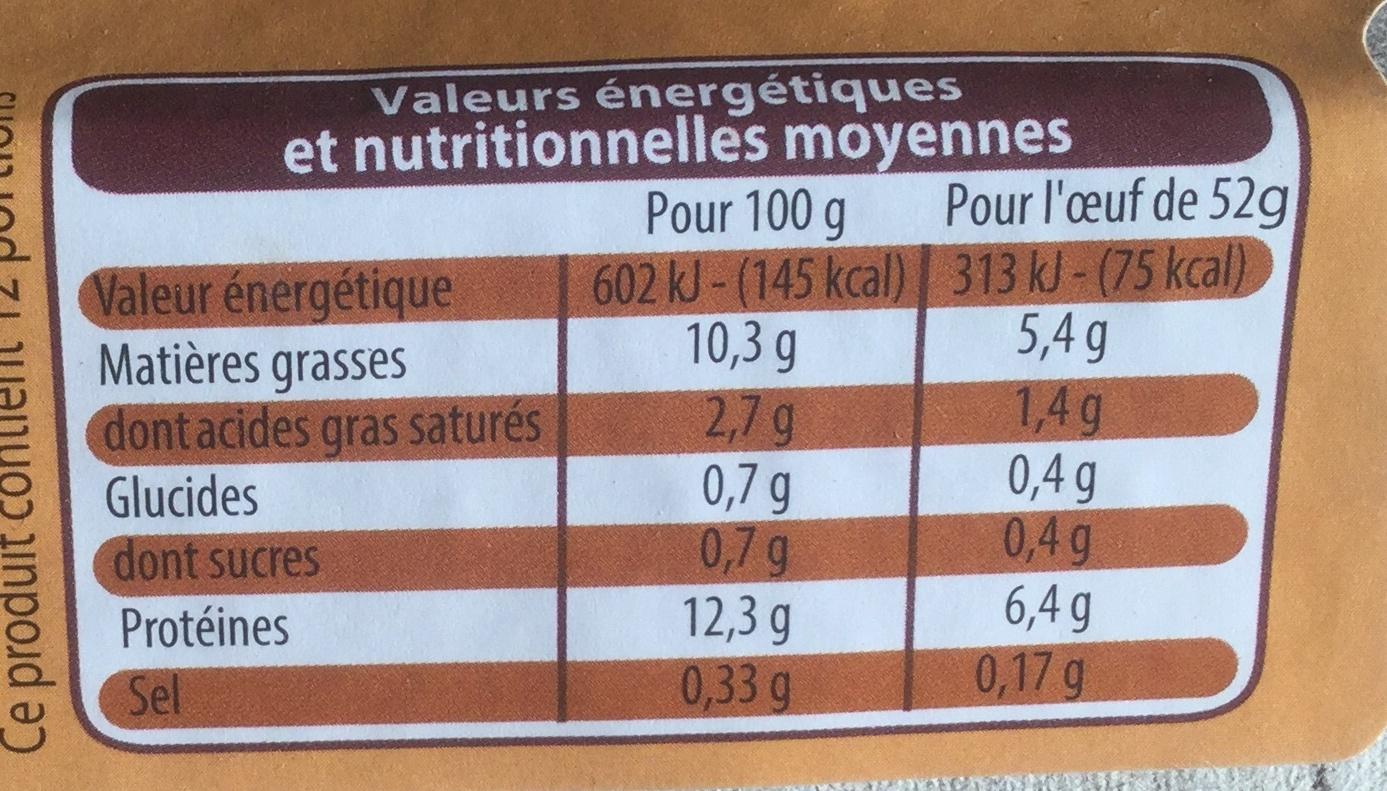 Œufs de poules élevées en plein air (x 12)Moyen Leader Price - Informations nutritionnelles