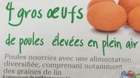 4 gros oeufs de poules élevées en plein air - Ingrediënten - fr