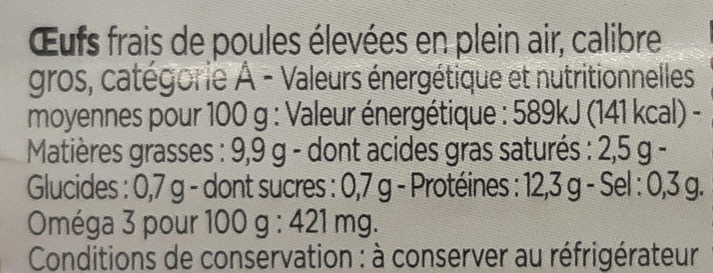 4 gros oeufs de poules élevées en plein air - Voedingswaarden - fr
