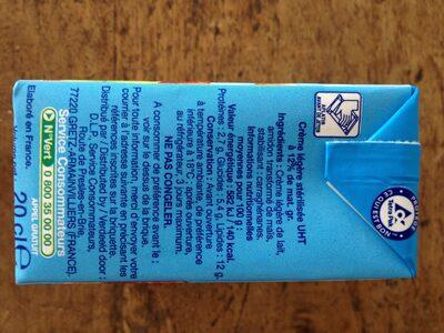 Crème Légère (12 % MG) - Informations nutritionnelles