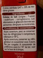 Creme fluide entiere 30% - Ingrediënten - fr