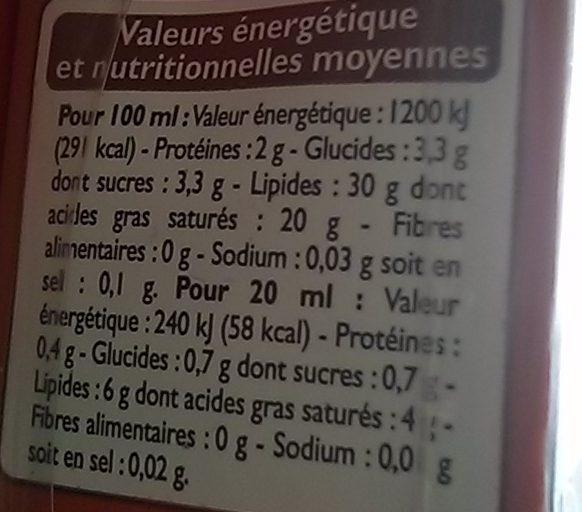 Creme fluide entiere 30% - Voedigswaarden