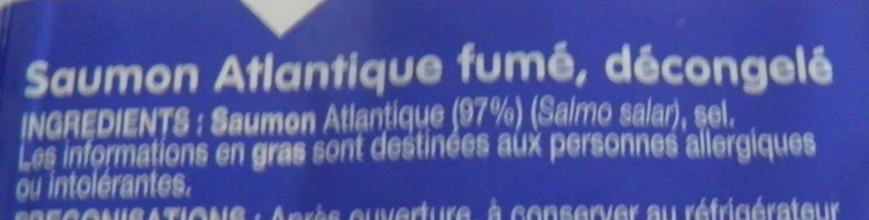 Saumon Atlantique fumé au bois de hêtre - Ingrédients - fr
