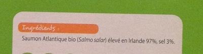 Saumon Atlantique fumé élevé en Irlande Bio (4 tranches + 1 gratuite) - 150 g - Ingrediënten - fr