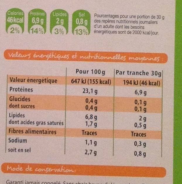 Saumon Atlantique fumé élevé en Irlande Bio (4 tranches + 1 gratuite) - 150 g - Nutrition facts