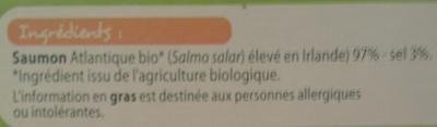 BIO Saumon Atlantique fumé - Ingrédients