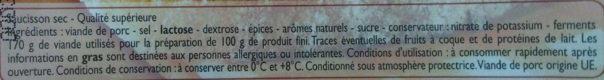 Saucisson Sec - Qualité Supérieure - Ingredienti - fr