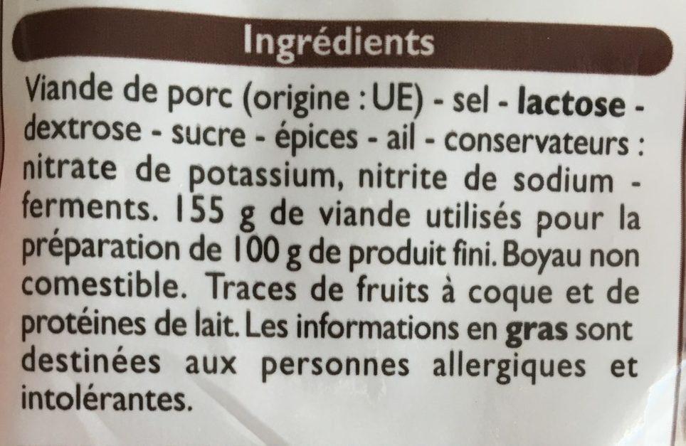 Saucisse sèche - Ingrediënten