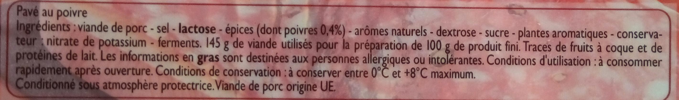 Pavé au poivre - Ingredienti - fr