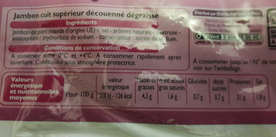 Jambon supérieur découenné dégraissé 6 tranches - Produit - fr