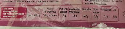 Jambon supérieur découenné dégraissé 6 tranches - Informations nutritionnelles - fr