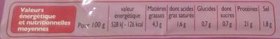 Jambon supérieur (4 tranches) - Informations nutritionnelles - fr