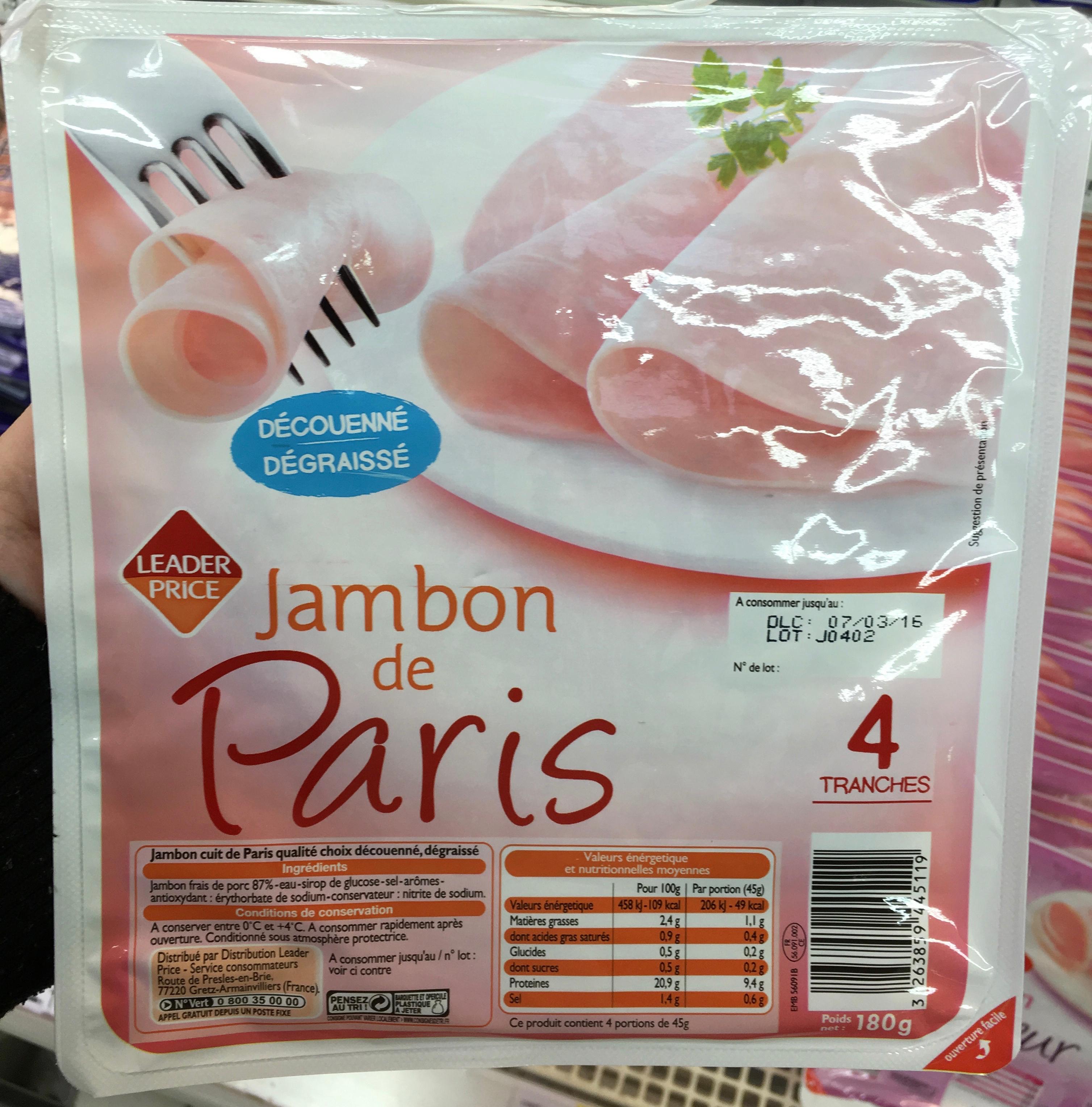 Jambon de Paris, Découenné Dégraissé (4 Tranches) - Prodotto - fr
