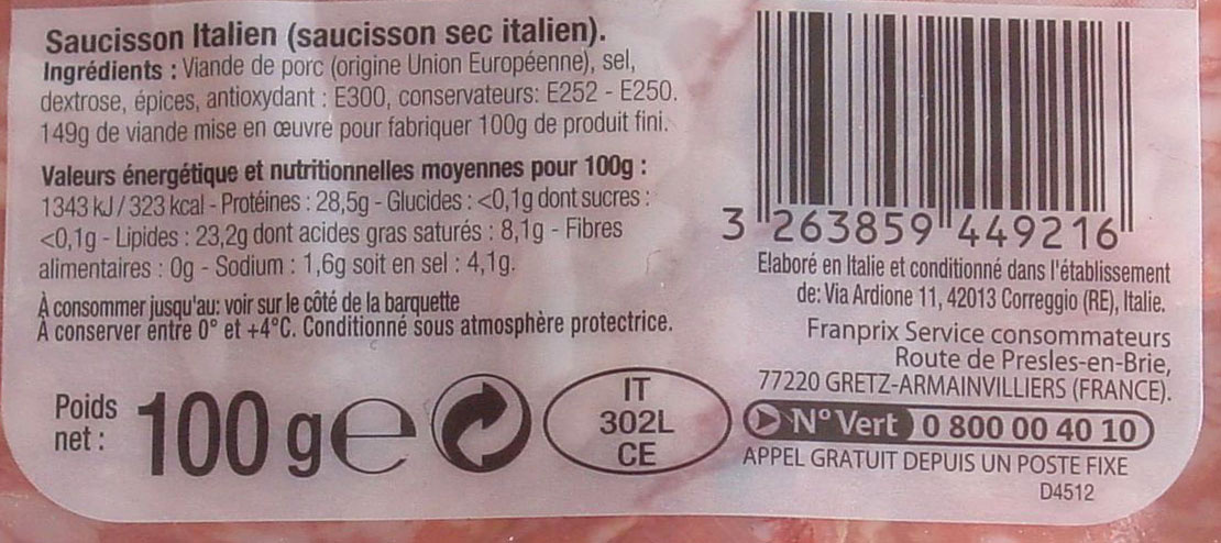 Saucisson Italien 27 tranches - Ingrediënten