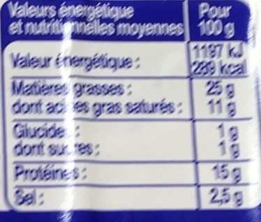 Poitrine fumée - Voedingswaarden
