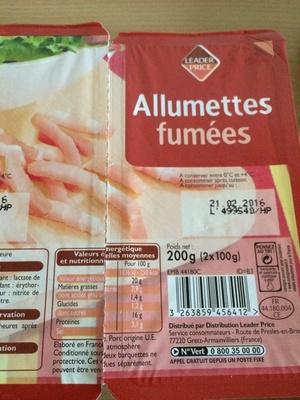 Allumettes fumées - Produit